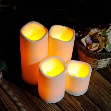 Cylindrical Flickering LED Candle Light Flameless Garden Yard Christmas Lamp Decoration (10x7.5cm) by Youngstore