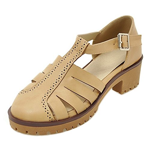 Apricot Toe Women 8 Closed Buckle Sandals TAOFFEN Classic vqwYFBB