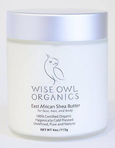 Certified Organic East African Shea Butter (Nilotica), Best All Natural Moisturizer for Body, Hair, and Face - Pure, Unrefined, Cold-Pressed, Fair Trade, Cruelty-Free, Packaged in Glass Jar