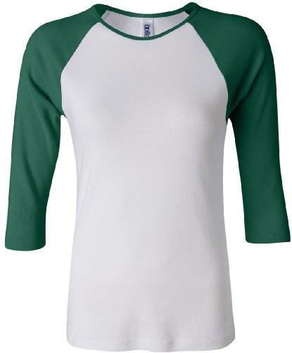 bella Ladies 1x1 Rib 3/4 Sleeve Raglan T-Shirt, White/Kelly, 2XL