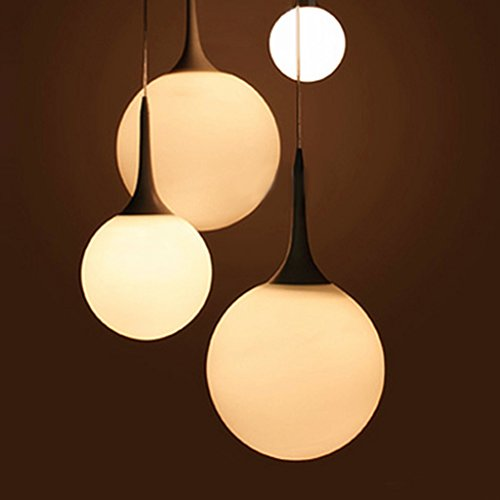 [Floureon Decorative Elegant Modern E27 Chandelier Pendant Plato Spherical Glass Light Lamp Shades Milky White (18 Inch)] (Milky White Glass Shade)