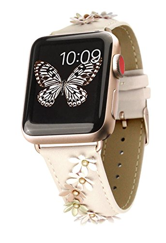 Prime Time Band Compatible with Smart Watch – Genuine Leather 38mm Replacement Straps (Ivory Cascade flowers)