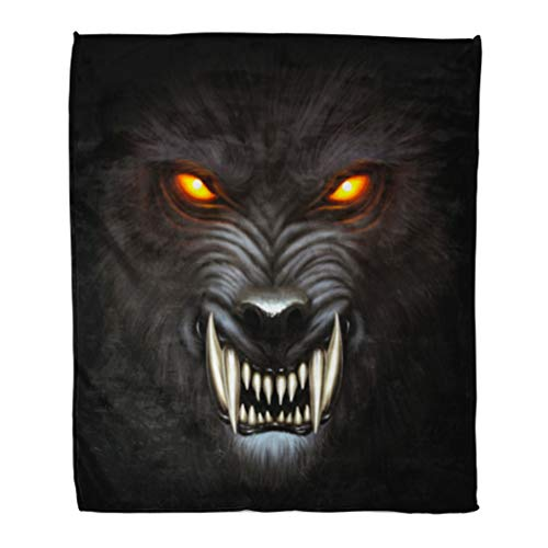 Golee Throw Blanket Animal Angry Werewolf Face in Darkness Digital Painting Fantasy Fierce 50x60 Inches Warm Fuzzy Soft Blanket for Bed Sofa]()