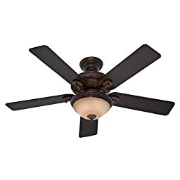 Hunter Fan Company 53029 Vernazza 52-Inch Ceiling Fan with Five Aged Barnwood/Rustic Lodge Blades and Light Kit, Brushed Cocoa