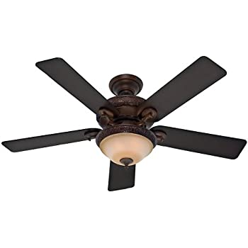 hunter fan company vernazza 52inch ceiling fan with five aged lodge blades and light kit brushed cocoa - Rustic Ceiling Fan