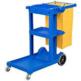 Janitorial Cleaning Cart with 3 Shelves and Vinyl Bag