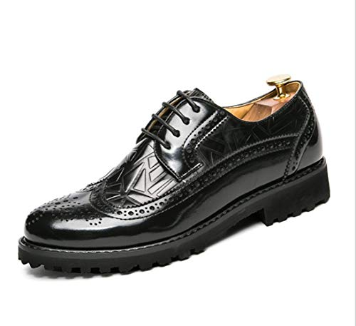 Punta New British Shiney Pelle Sponge A Black Men's Intagliati Brock In Scarpe 8dwqdErv