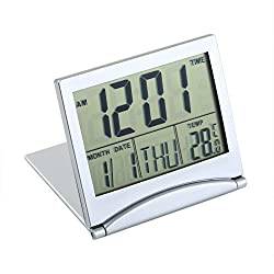 1pcs Calendar Alarm Clock Display Date Time Temperature Flexible Mini Desk Digital Lcd Thermometer