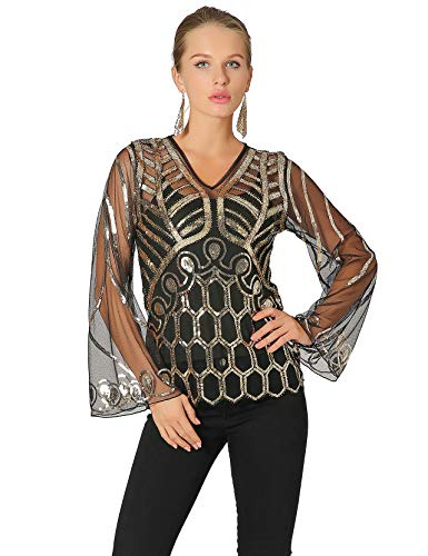 Radtengle Women's Sequin Blouse See Through Party Tops V Neck Sparkly Shirts with Adjustable Camisoles Black Gold