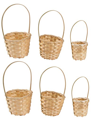 Mini Baskets- 6-Pack Miniature Woven Baskets with Handles, Mini Round Baskets, Small Country Baskets, for Parties, Gardens, Home Decoration, Off-White, 3 Assorted Sizes ()