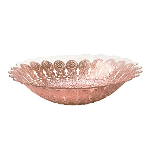 Amici Home, 7TD220R, Adaline Collection Oval Serving Bowl, Rose Gold Lace Detailing, Handmade Decorative Turkish Serveware, 12 Inch Diameter