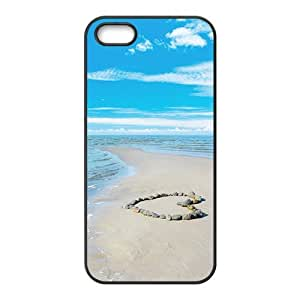 Blue Sky And Sea Beach Black Phone Case for Iphone 5s