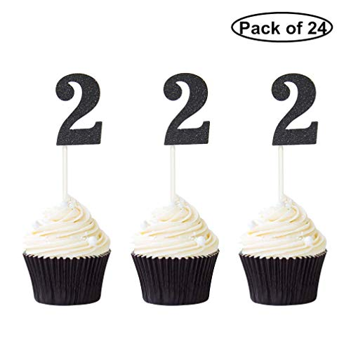 Pack of 24 Number 2 Cupcake Toppers Black Glitter 2nd Birthday Caupcake Picks Anniversary Party Decor