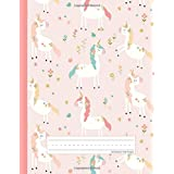 Unicorn Flowers - Primary Story Journal: Dotted Midline and Picture Space | Grades K-2 Composition School Exercise Book | 100
