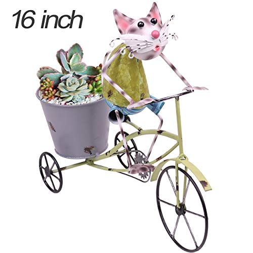 TERESA'S COLLECTIONS 16 inch Metal Cat Garden Statues and Figurines with Planter for Outdoor Yard - Cat Figurine Statue