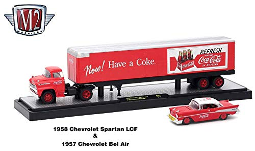 - M2 Machines 1958 Chevrolet Spartan LCF and 1957 Chevrolet Bel Air (Coke Red & White Top) Auto-Haulers Coca-Cola Release 1 Castline 2018 Premium Edition 1:64 Scale Die-Cast Vehicle Set (50B01 18-03)