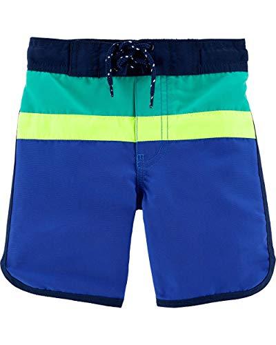 (Osh Kosh Toddler Boys' Swim Trunks, Blue Color Block, 3T)