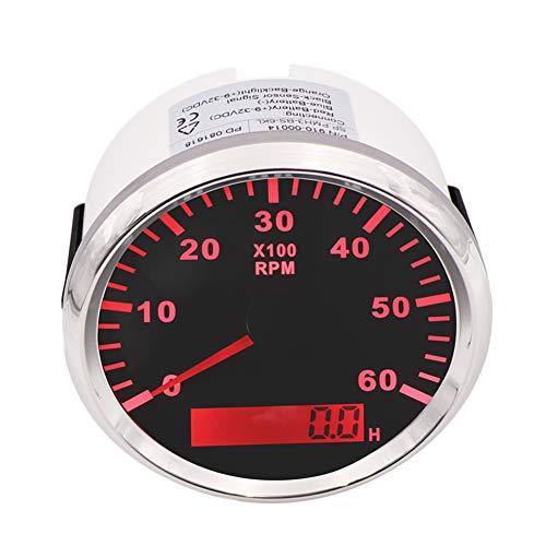 CT-CARID 85mm Marine Tachometer Gauge Waterproof with LCD Digital Hour Meter Clock 6000 RPM 12V//24V Backlight for Car Truck Boat