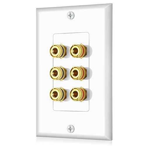 Banana Binding Post Decora Style Wall Plate for 3 Speakers ()