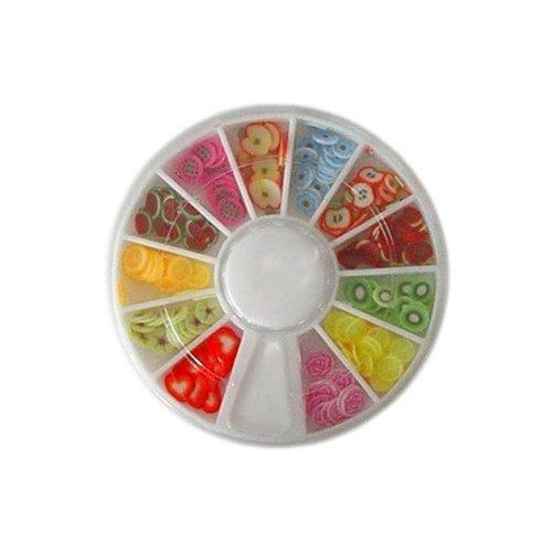 JOVANA 240pcs Fimo Fruit Nail Art Decorations Wheel