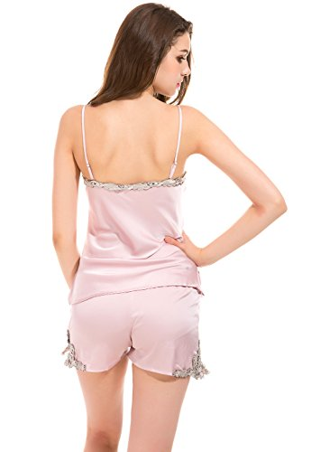 Vislivin Two Piece Set Women's Satin Sleepwear Camisole Top and Shorts Pink