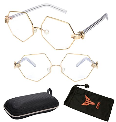 (#HEX-01Gld) Exclusive Hexagon Metal Gold Frame Oversized Men Women Unisex Clear Lens Glasses Eyeglasses + Free Hard - Eyeglass Frames Hexagon