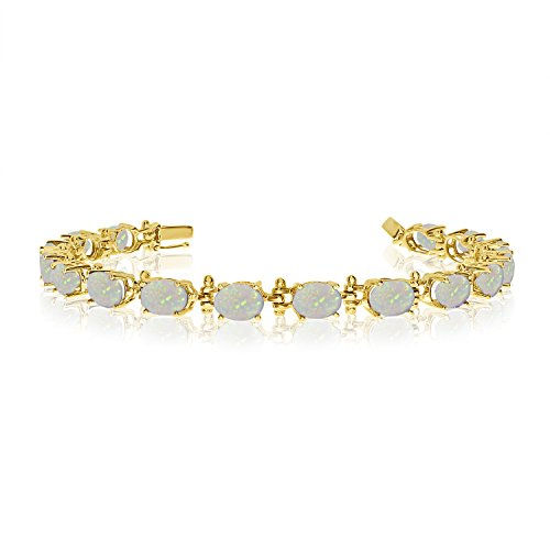 14K Yellow Gold Oval Opal Tennis Bracelet (6 Inch Length)