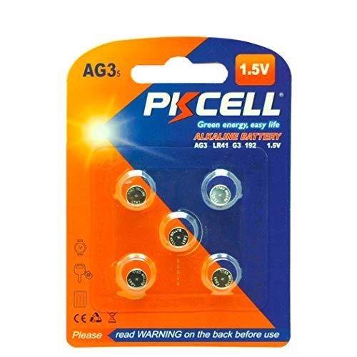 5 Pack LR41 392 192 384 AG3 1.5V Alkaline Batteries for Watches