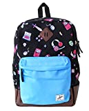 Backpack Casual for School with Laptop Pouch for Womens Mens Boys Girls - iHasCupquake (Black Blue)