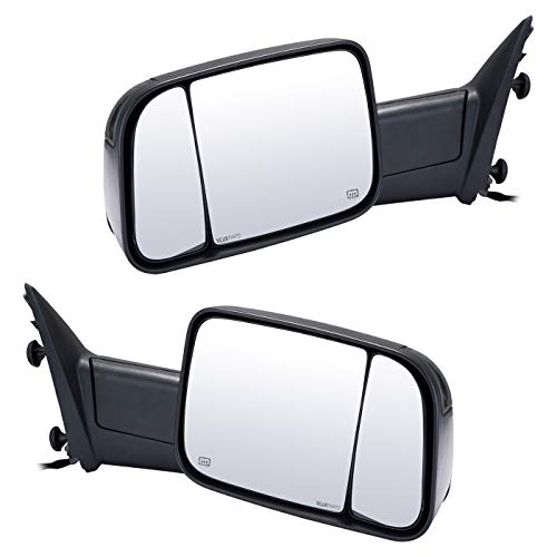 VLUXPARTS Tow Mirror Pickup Dodge Ram Towing Mirrors Power Heated Folding LED Turn Signal Lights Side Rear View Passenger Driver Pair for Dodge Ram 1500 2500 3500 2009-2016