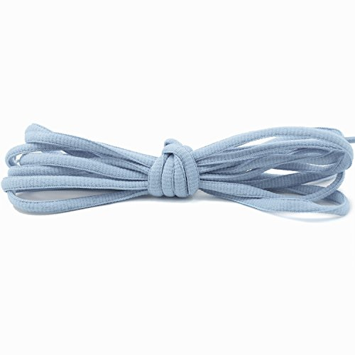 """DailyShoes Oval Athletic Oxford Flat Dress Canvas Sneaker Boots Rainbow Color Selection Shoe Laces Half Round 1/4"""" Inches , Great for Camping Shoes (Baby Blue, 36"""" Inches)"""