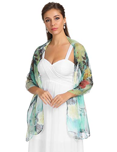 Women's Floral Printed Chiffon Scarf Pashmina Shawl Wrap Scarves (Beautiful Lightweight Scarf)