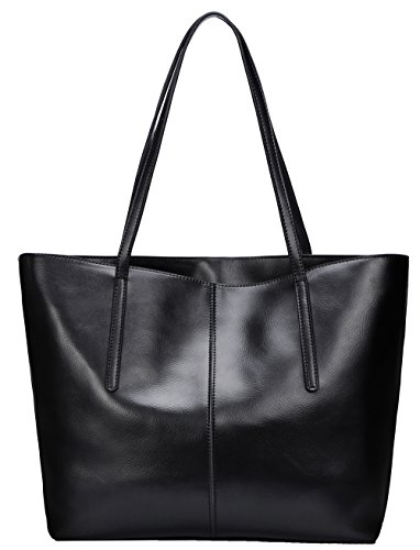 Covelin Women's Handbag Genuine Leather Tote Shoulder Bags Soft Hot Black (Black Leather Bag)