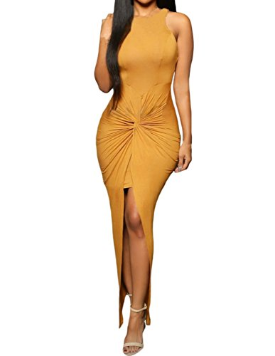 Sexy Womens Sleeveless Hig Low Knotted Slit Party Club Dress (L, Yellow)
