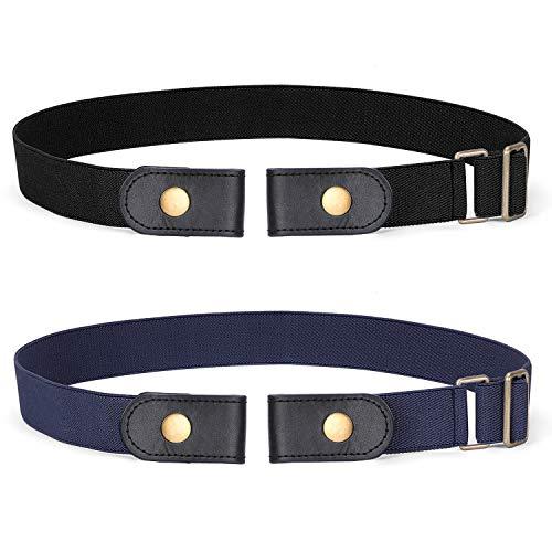 Buckle-free Elastic Women Belt for Jeans without Buckle, SANSTHS Comfortable Invisible Belt No Bulge No Hassle (Black+Blue, Plus Size)
