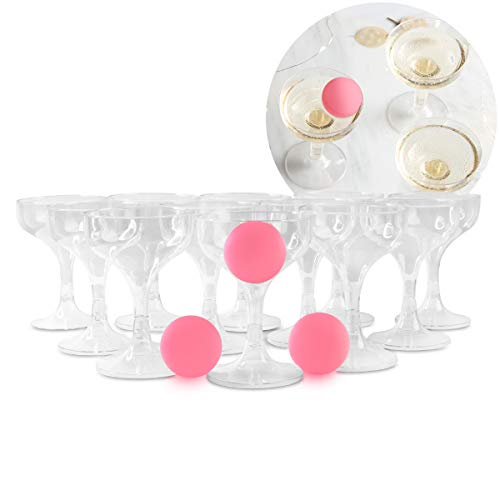 Laura Ashley Entertaining Prosecco Game with 12 Clear Plastic Champagne Coupes and 3 Pink Pong Balls, Elegant Beer Pong Alternative, Fun Drinking Sport for Bachelorette and Bachelor Parties, Bubbly