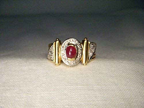 Estate 14K Yellow Gold Diamond Cabochon Ruby Designer Ring Band