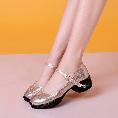 Abby 281 Womens Jazz Split Mary Jane Fresh Modern Closed Toe Practice Dance Shoes Golden P3evLtUjjH
