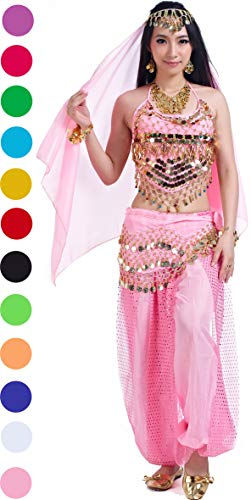 Genie Costumes for Halloween Women Lady's Belly Dance Costumes Set Outfit Accessories Pink -