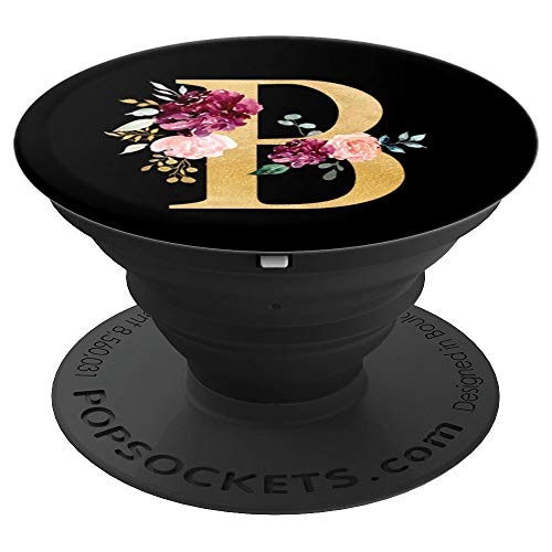 Monogram Initial Letter B Customized Floral Name Girls Gift - PopSockets Grip and Stand for Phones and Tablets