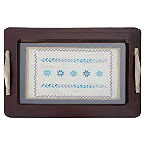 Turathna Wooden Blue Stars Handmade Cross Stitch Tray - 1 Piece
