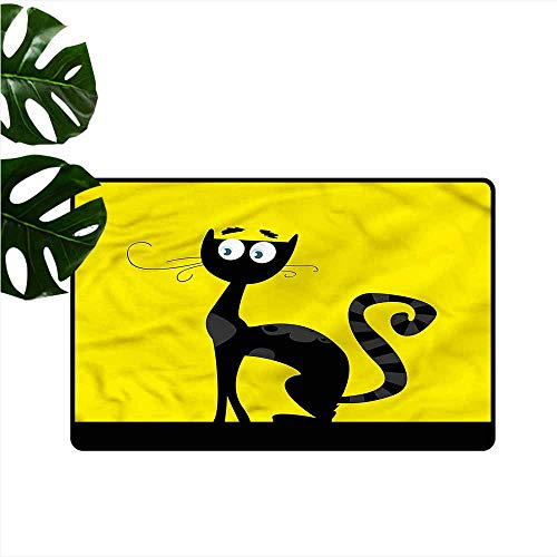 Printed Door mat Cat Cartoon Style Drawing Halloween Easy to Clean Carpet W35 xL47]()