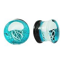 Swanjo Pair Glass Blue Jellyfish Ear Plugs Tunnels Earrings Gauges Jewelry 8-16mm
