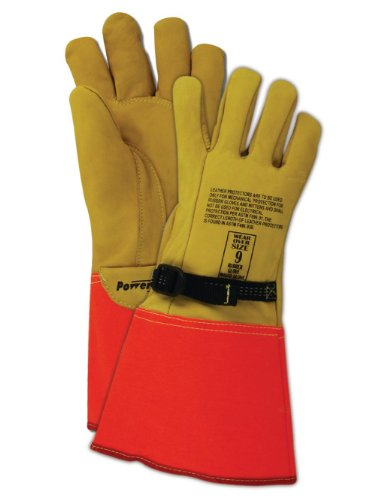 Magid Safety PowerMaster 606075ION Glove | Leather Protector Glove, for Use with Electrical Gloves - Rubberized Gauntlet Cuff, 14