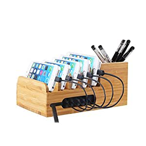 Lottogo Charging Station with 6-port 40W USB Charger Desktop Organizer and Smart IC Tech Fast Charge for iPhone 7 / 6s / Plus iPad Sony PS4 Bluetooth Speakers Kindle
