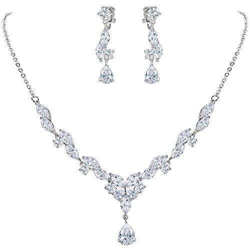 BriLove Wedding Bridal CZ Necklace Earrings Jewelry Set for Women Marquise Shaped Leaf Butterfly Y-Necklace Clip-On Dangle Earrings Set