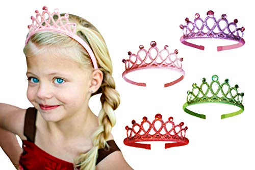 Princess Tiara Crown Rhinestone Glitter Sparkle Non slip Headband Birthday Party Supplies Favors Dress up Set (4-pack) for Little Girls Kids Children Teens Adults by Witty Pretty Pink Purple Green -