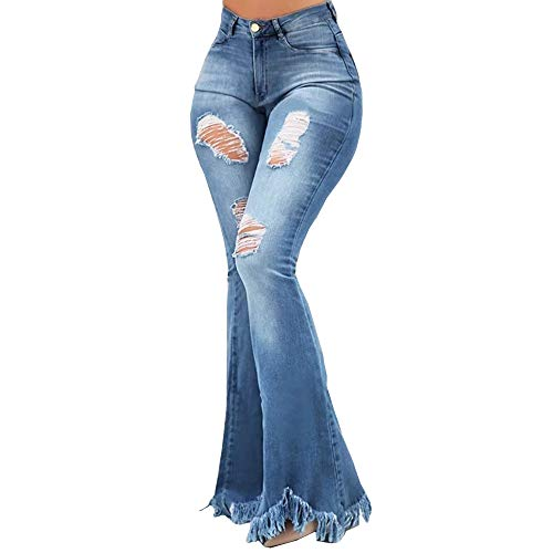 (BRUBOBO Women's Bell-Bottom Jeans Stretch Fringed Edges High Waist Flare Pant with Worn Hole Light Blue)
