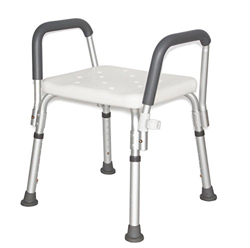 LUCKYYAN YC5200 Adjustable Bath and Shower Chair With Armrests / Anti-Slip Bench Bathtub Stool Seat with Aluminum Legs Wall Arm Anodized Aluminum Steel