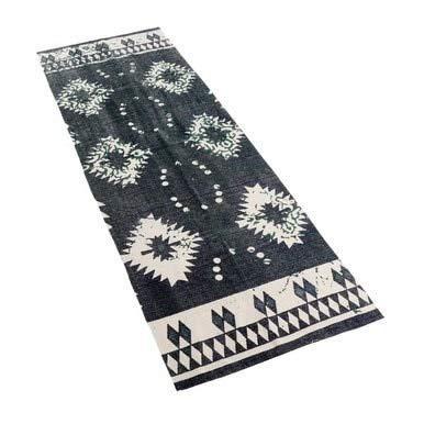 2x6 Foot Thin Boho Tribal Dark Grey, Dark Blue, Green and White Cotton Runner Rug